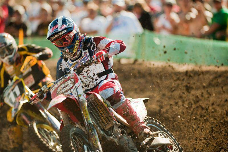 ...the holeshot actually went to Zach Osborne, although he was quickly passed by the Trey Canard (2) and Ken Roczen (11) duo.