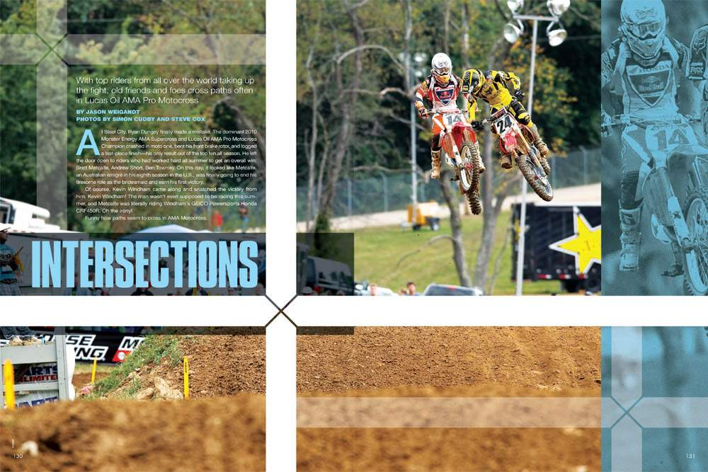 Common threads and recurring patterns emerge as we look back at the 2010 Lucas Oil AMA Pro Motocross Championship. Page 130.