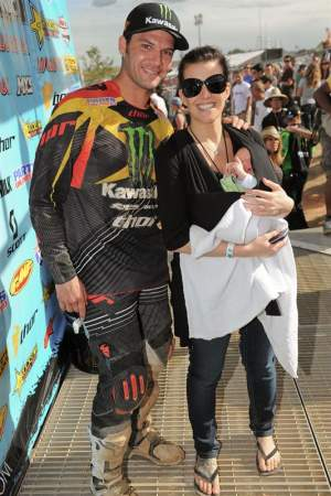 One of the major life achievements for Chad Reed this year was the birth of his son, Tate (here pictured with Reed's wife Ellie after Reed's Hangtown win).