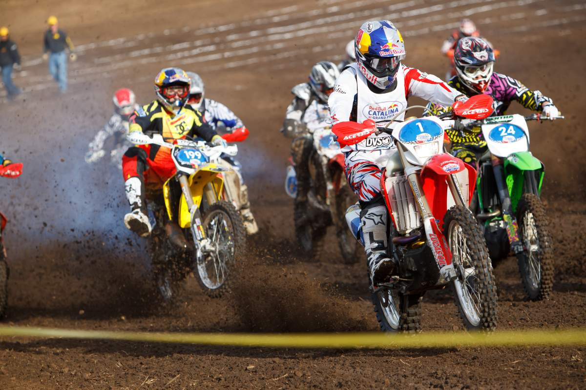 The field was stacked with Red Bull athletes, including Travis Pastrana, who didn't get the best starts on his RM250.