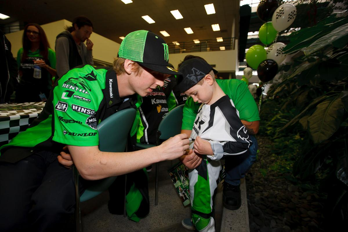 Jake Weimer signs for a happy fan