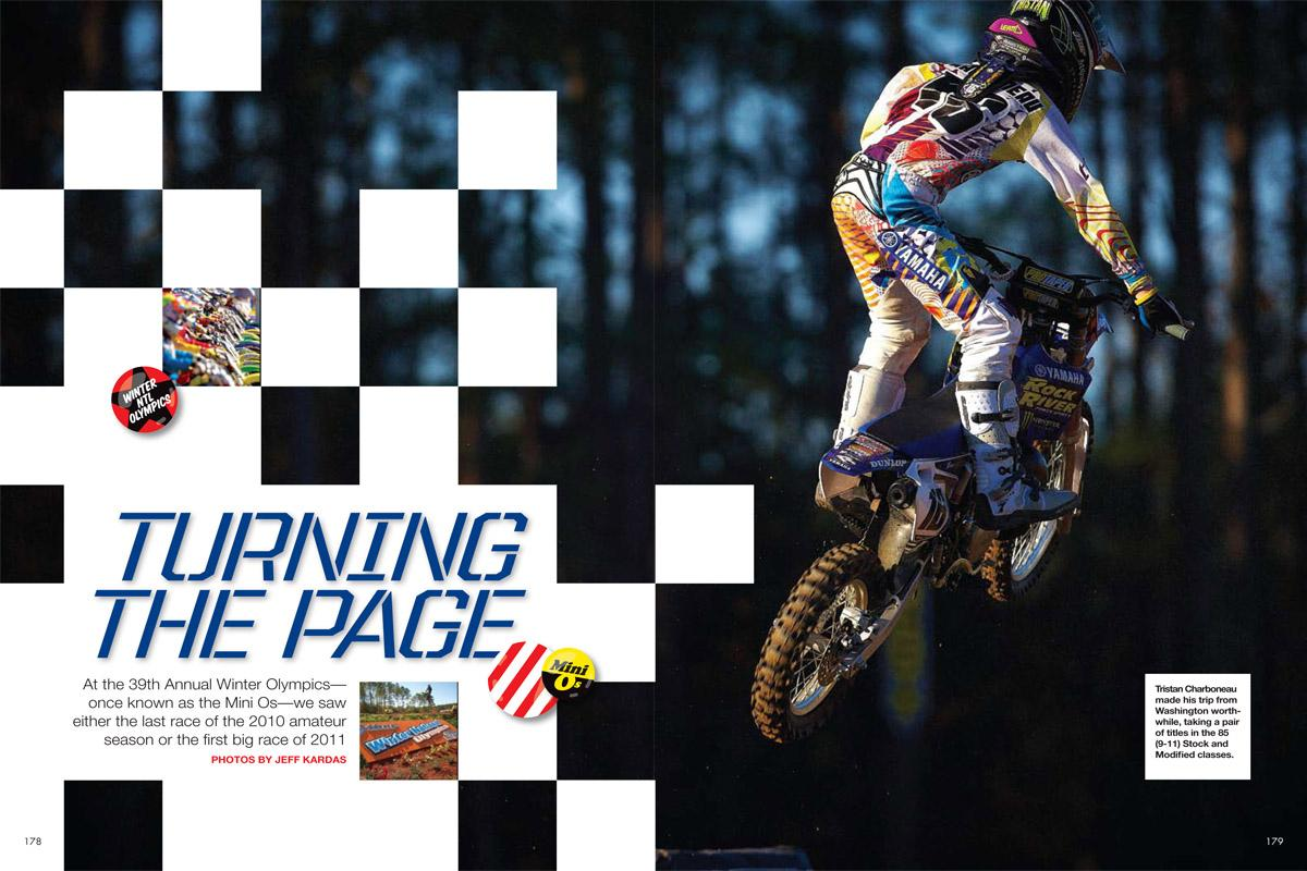 A photographer's-eye view of the 39th Annual Winter National Olympics, Florida's yearly amateur event that bridges motocross racing's seasonal gap. Page 120.