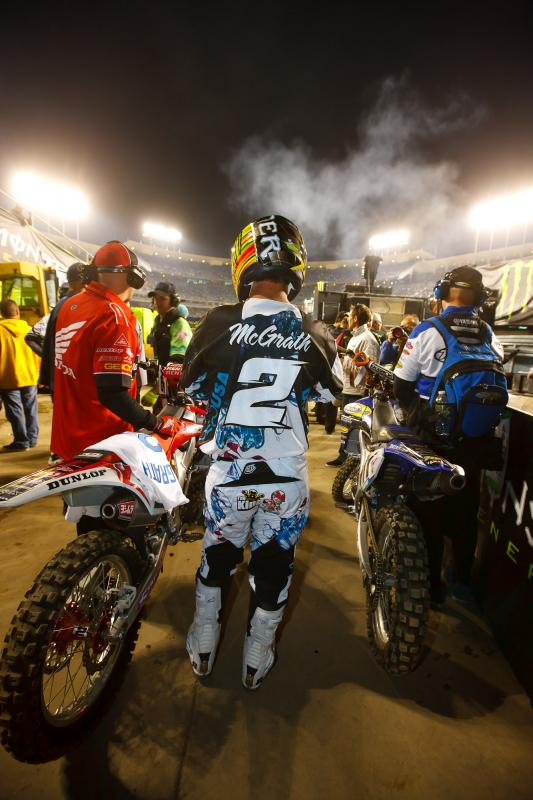 Jeremy McGrath prepares for a hot lap