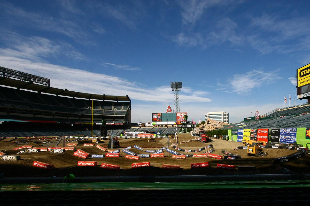 The track looks pristine for Round 5 of Monster Energy Supercross from Anaheim