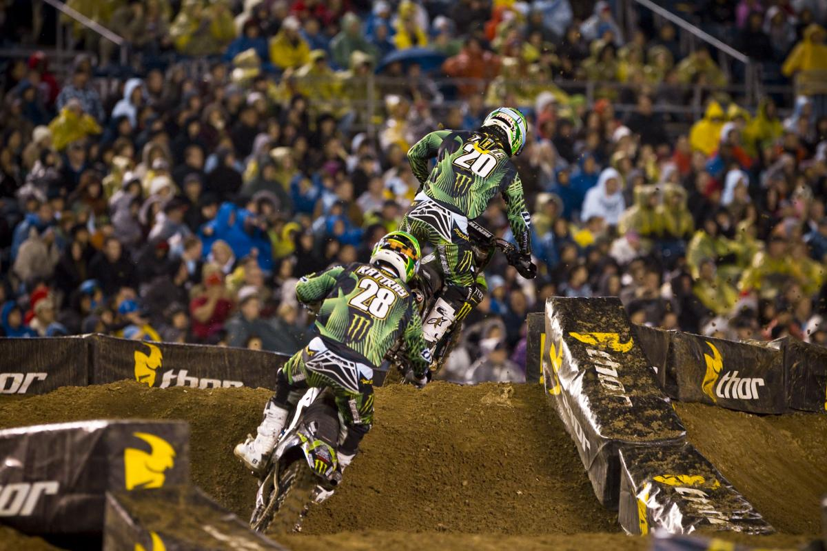 Pro Circuit teammates Broc Tickle and Tyla Rattray battled for second the entire night