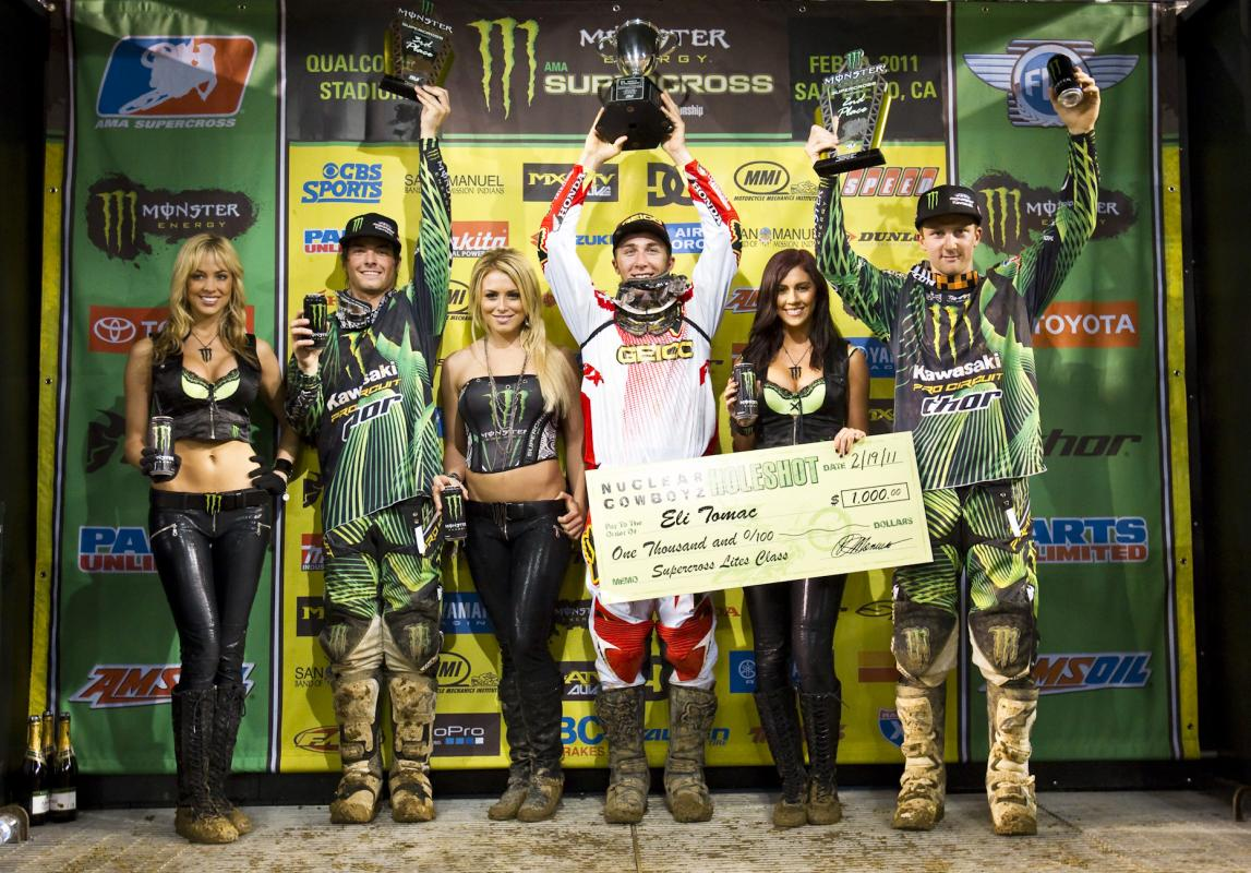 Tomac celebrates his fist career SX victory