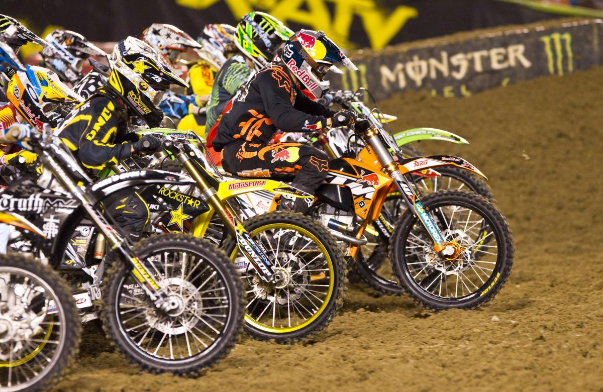 Ken Roczen would grab the holeshot and the win in heat two