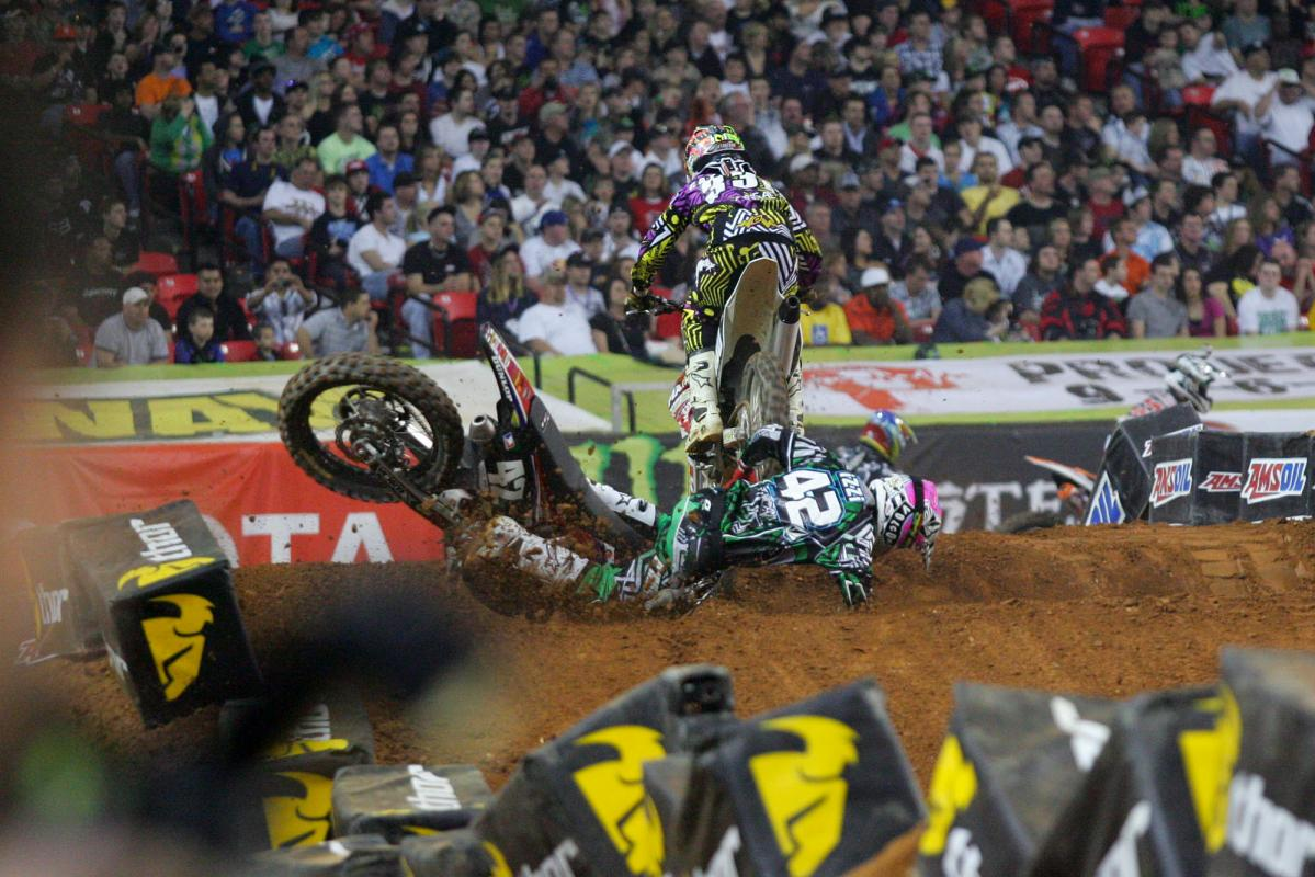 Nico Izzi took a hard fall in the whoops.