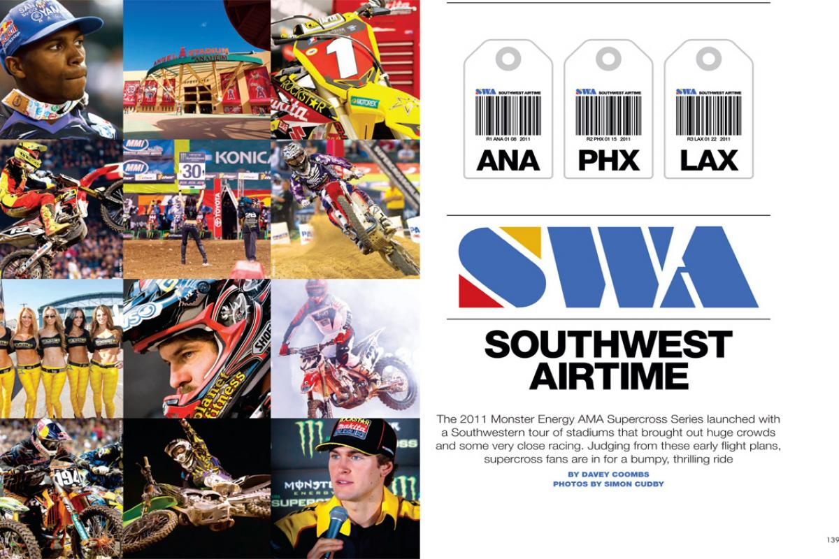 The 2011 Monster Energy AMA Supercross Series launched with a South-western tour of stadiums that brought out huge crowds and some very close racing. Page 138.