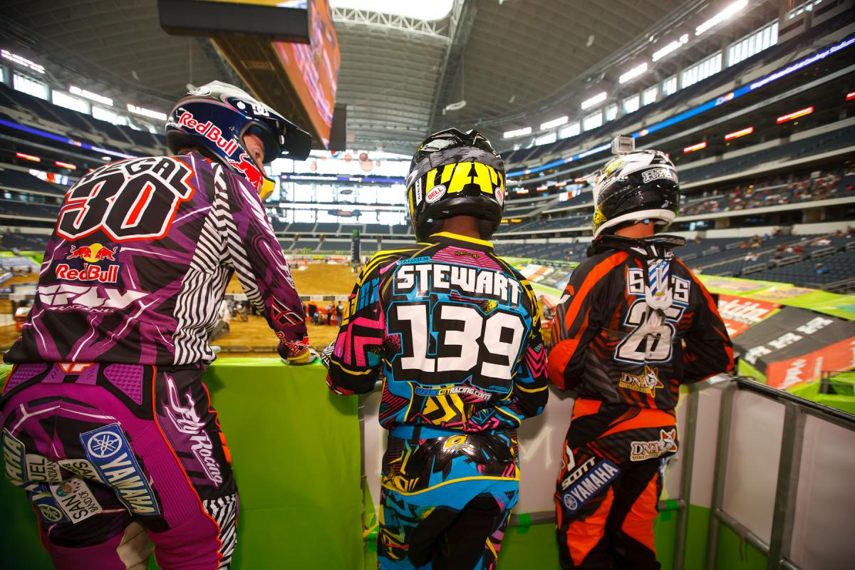 Regal, Stewart, and Sipes wait for practice