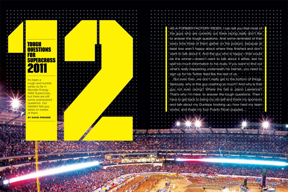 12 TOUGH QUESTIONS FOR SUPERCROSS 2011