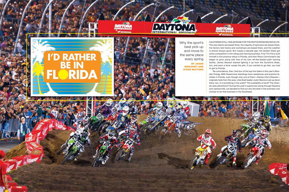 Flowers are blooming, snow is melting, and motocrossers are heading to their Florida practice facilities. It must be springtime! Page 160.