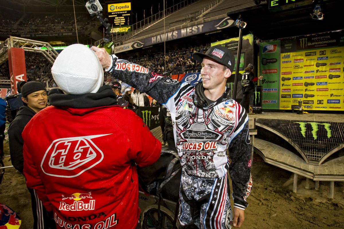 Seely celebrates his second career win.