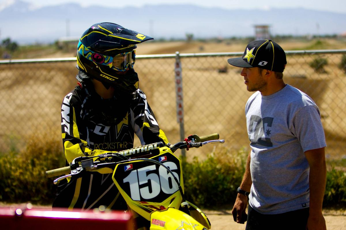 Jason Anderson and his mechanic, Shane