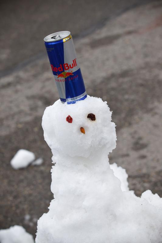 Red Bull snowman