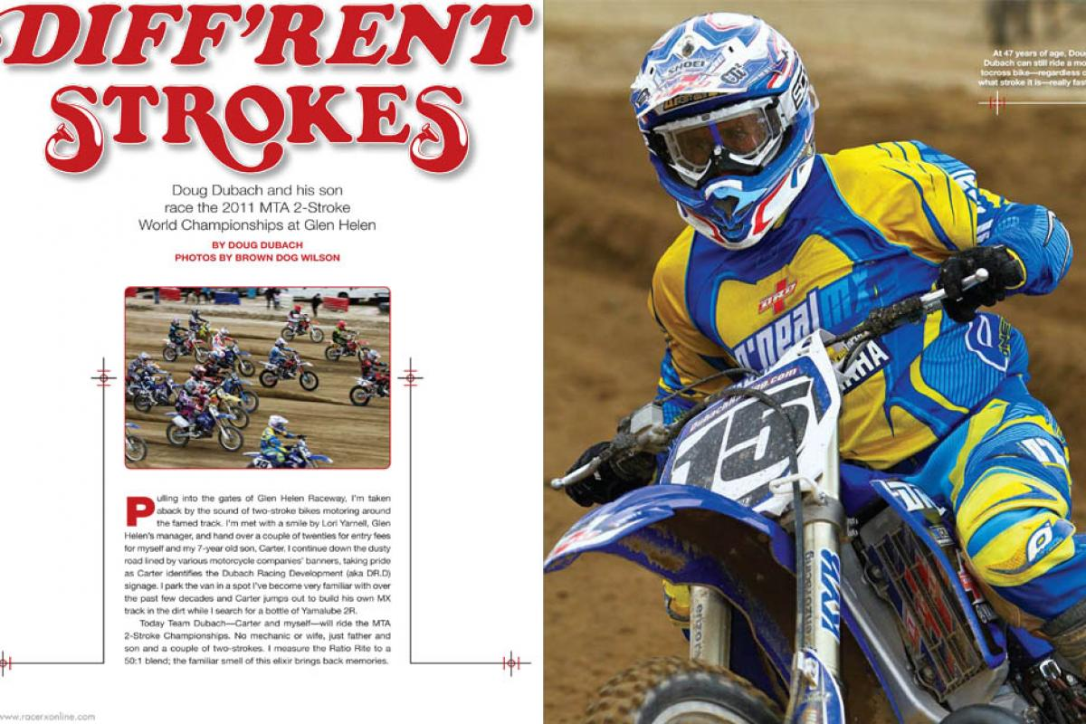 Four-stroke racing pioneer Doug Dubach and his son go back to the future at the 2011 MTA 2-Stroke World Championships at Glen Helen. Page 134.