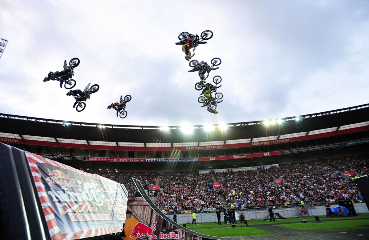 FMX rider all-in backsflips 2011 Nitro Circus Live Tour Wellington New Zealand Westpac Stadium Wednesday Feb 9th 2011© Sport the library / Jeff Crow