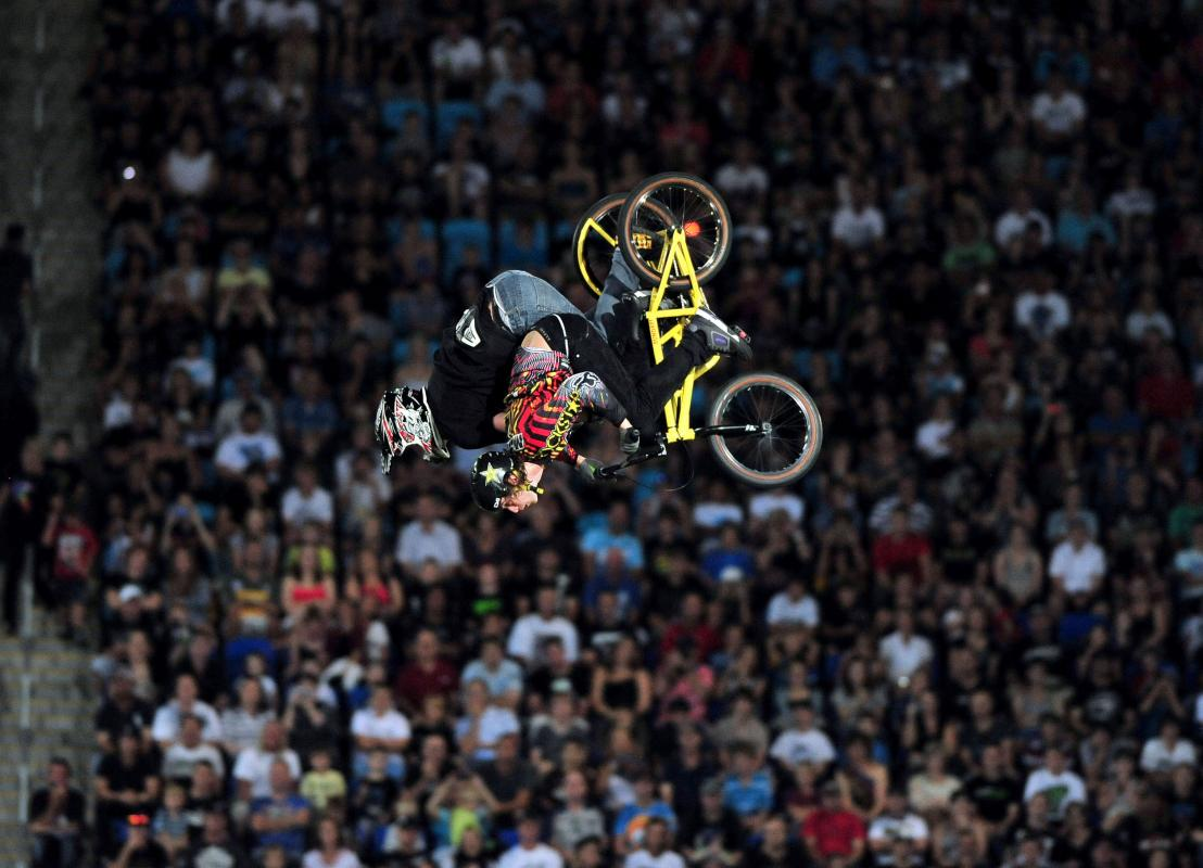 Jim Dechamp/Cam McCaul Tandem backflip 2011 Nitro Circus Live Tour Skilled Stadium Gold Coast QLD Australia Saturday 2 April 2011© Sport the library / Jeff Crow