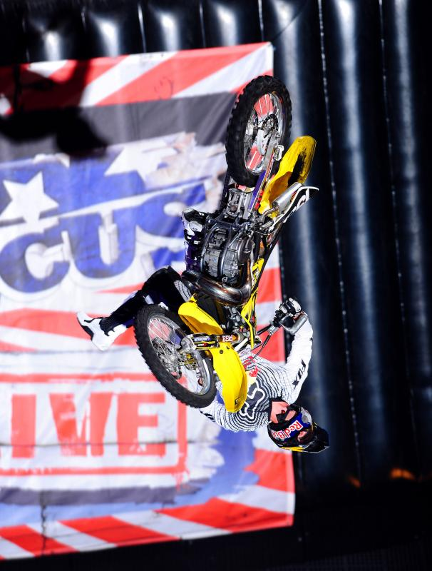 Travis Pastrana / FMX nac nac backflip 2010 Nitro Circus Live Tour Acer Arena Sydney Australia May 14th - 15th 2010© Sport the library/Jeff Crow