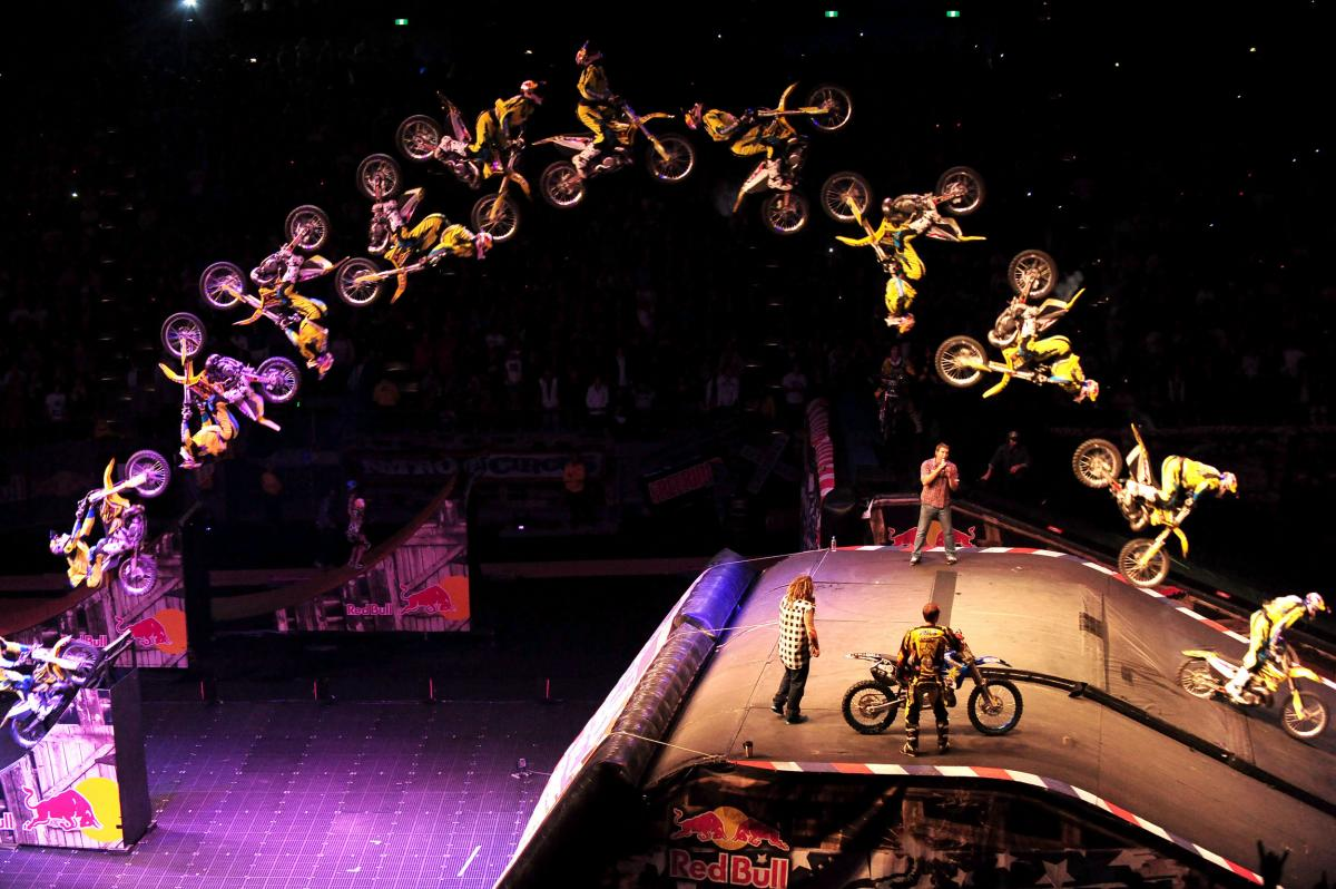 Travis Pastrana completes a double backflip rotation for the second time since his X Games debut of the trick in 2006.Nitro Circus Live / Melbourne June 5, 2010Rod Lavor Arena, Melbourne Australia© Sport the library/Courtney Crow