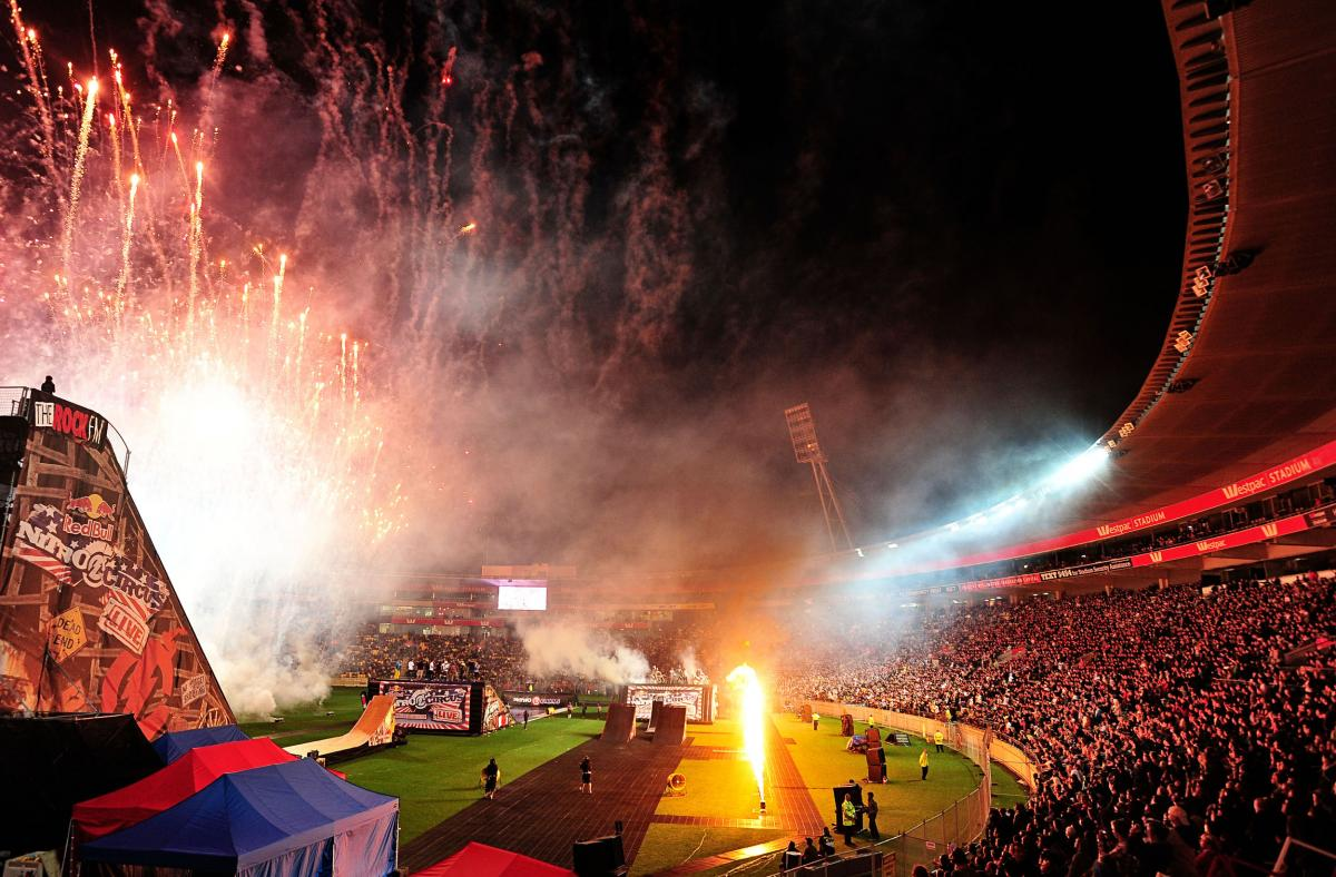 A large crowd on hand to watch the show & final fireworks2011 Nitro Circus Live Tour Wellington New Zealand Westpac StadiumWednesday Feb 9th 2011© Sport the library / Jeff Crow