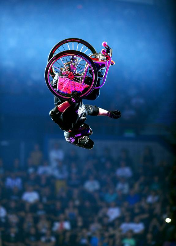 double backflippin' wheelchair athlete, Aaron 'wheelz' Fotheringham (USA)2010 Nitro Circus Live Tour Brisbane Entertainment Centre May 8th 2010© Sport the library/Jeff Crow