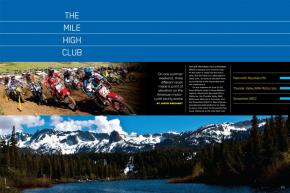 On one summer weekend, three different races made a point of elevation on the American motorcycle racing scene in California, Colorado, and West Virginia. Page 224.
