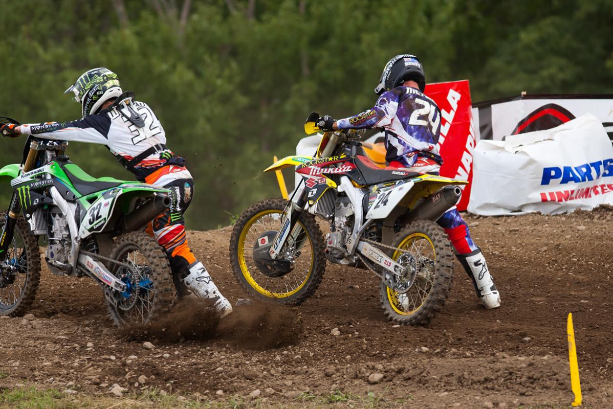 Jake Weimer and Brett Metcalfe tangle in the second 450 moto.