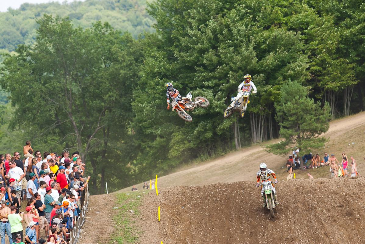 Marvin Musquin and Ryan Morais whip over the sky jump.