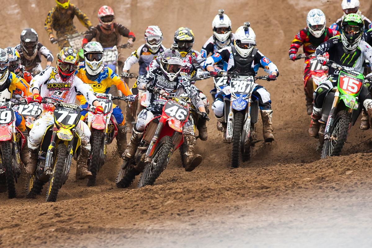 Alex Martin holeshot in the second 250 moto