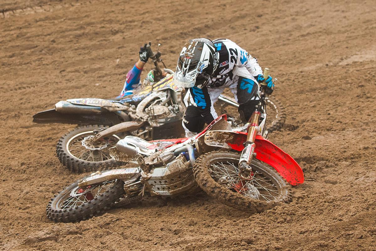 Reed had his fair share of troubles at Southwick, including this first turn crash in the second moto.