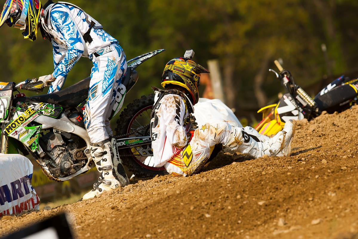 Nick Paluzzi goes down on the second 250 start.