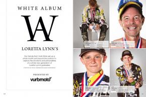 We recruited the Vurb Moto team to set up a photo booth just beyond the Loretta Lynn's podium. If you've ever wanted to know, this is what winning feels like. Page 128.