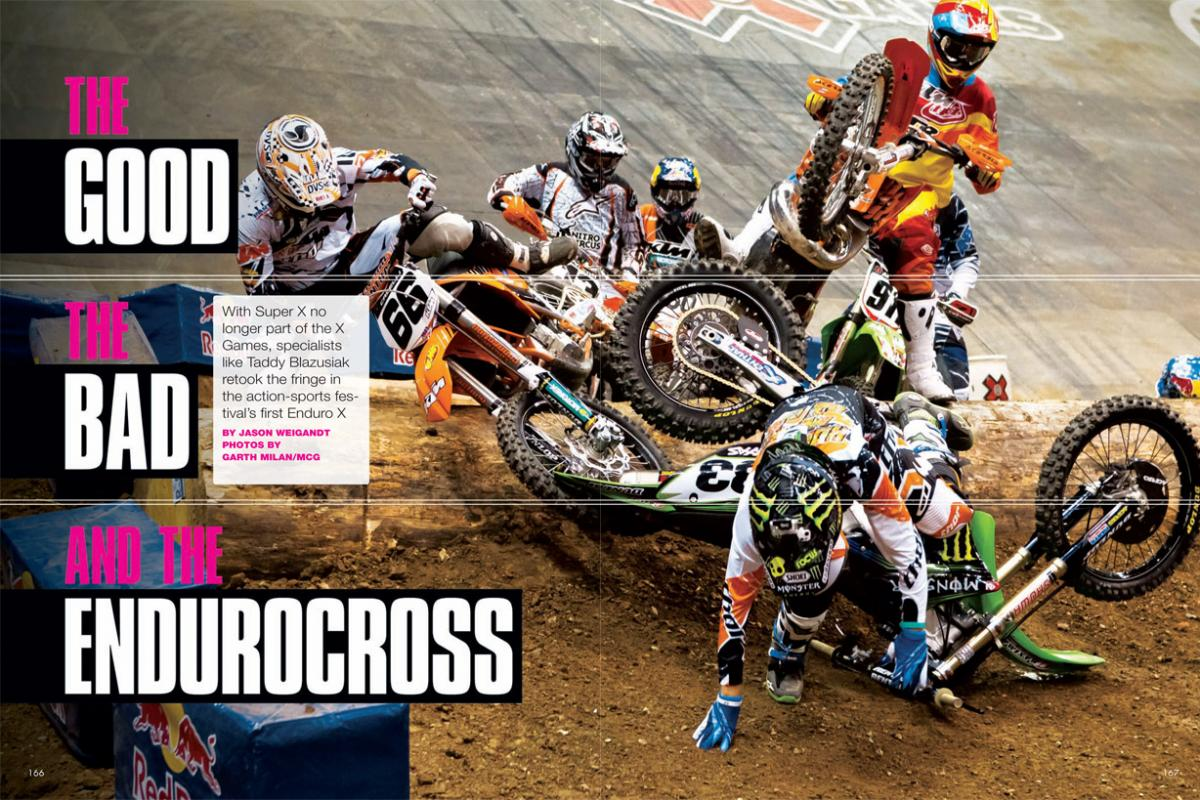 With the more traditional Super X event off the schedule, the 2011 edition of ESPN's X Games turned to something more offbeat— and off-road. Page 166.