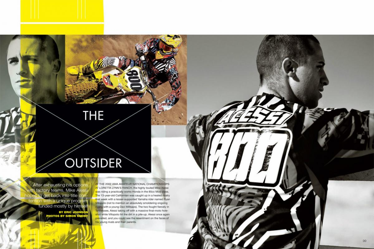 Continuing his quest to fulfill the vast potential he showed as an amateur, Mike Alessi is setting up shop on his own with help from MotoConcepts—and his unique family. Page 136.