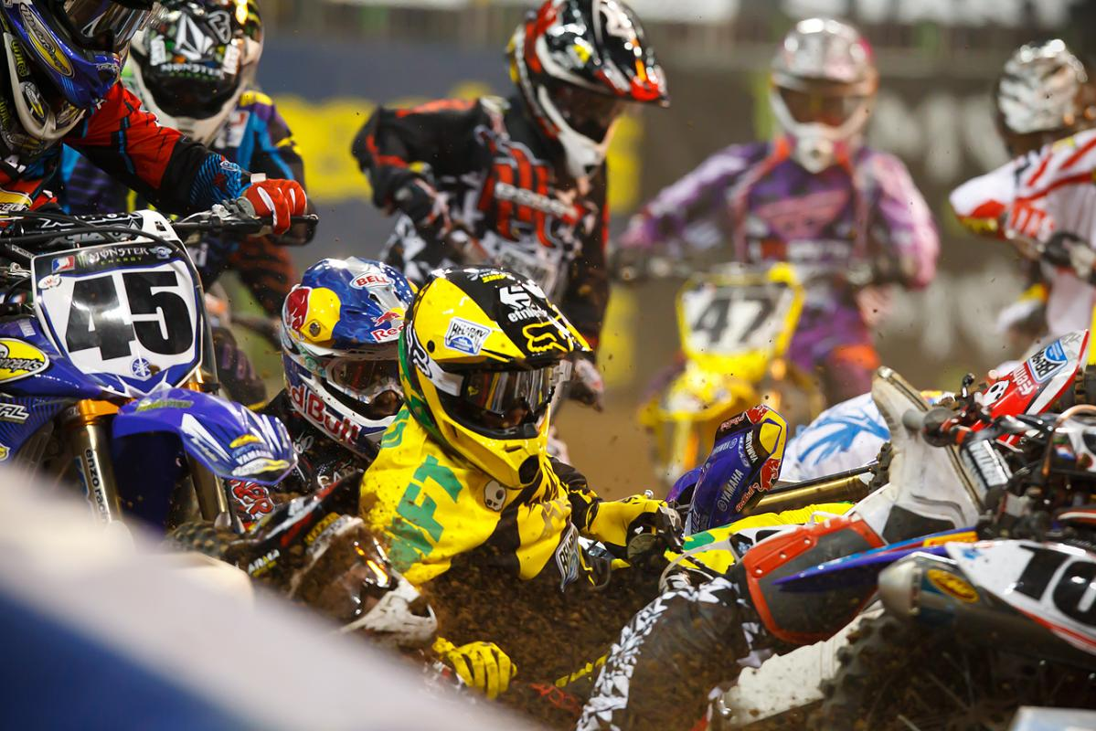 Chad Reed and company in a first turn pile up at Houston // Simon Cudby