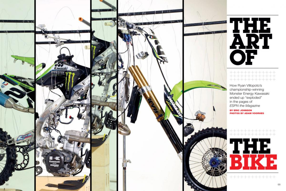 We go behind the scenes of a fascinating ESPN the Magazine photo shoot and watch as Ryan Villopoto's KX450F is blown to pieces—very carefully, of course. Page 122.