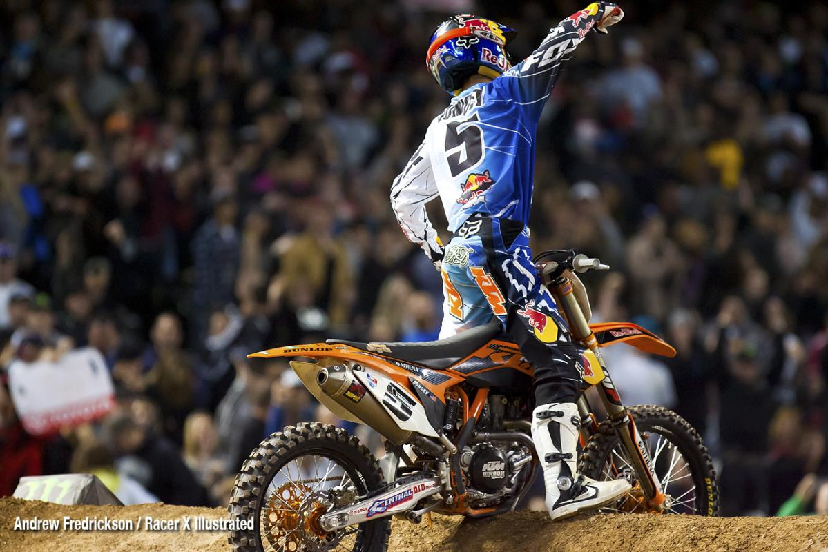 Dungey celebrates his win.