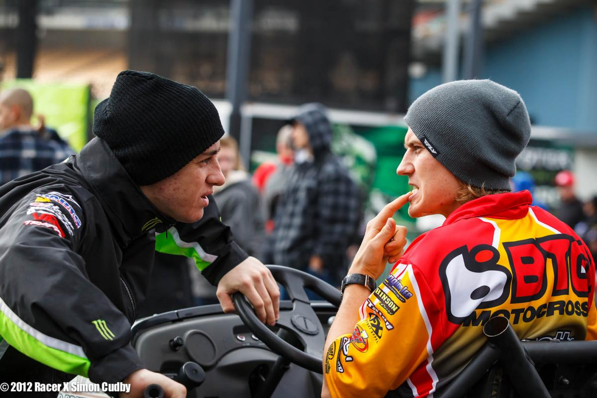 Jimmy Albertson showing Dean Wilson how many teeth he lost last week.