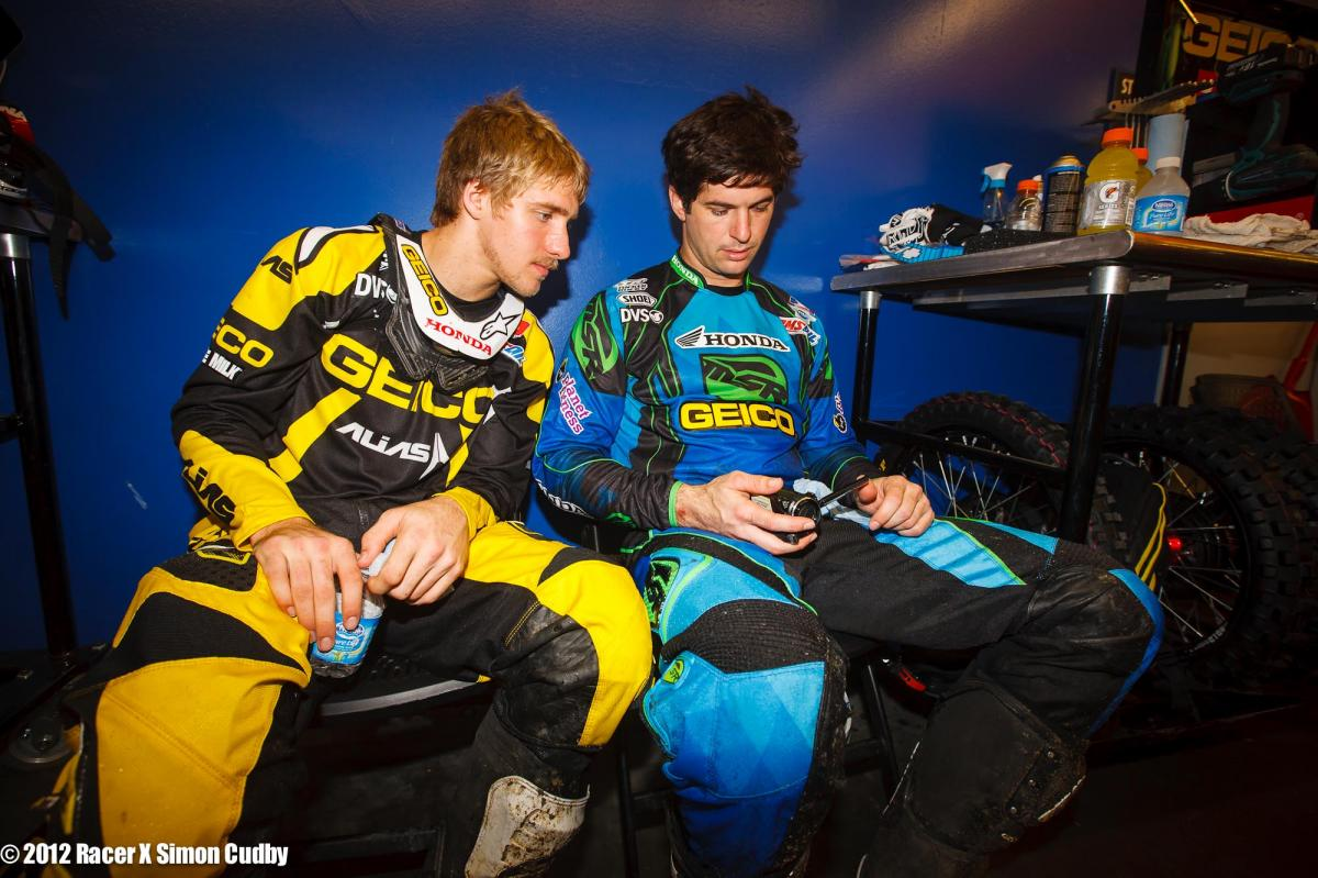 Barcia and Windham check the practice tape