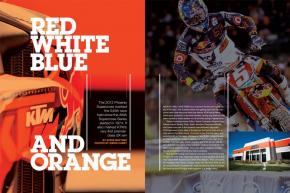 Ryan Dungey's win at the 2012 Phoenix Supercross marked KTM's debut on the top step of a premier-class supercross podium. Here's how they got there. Page 152.