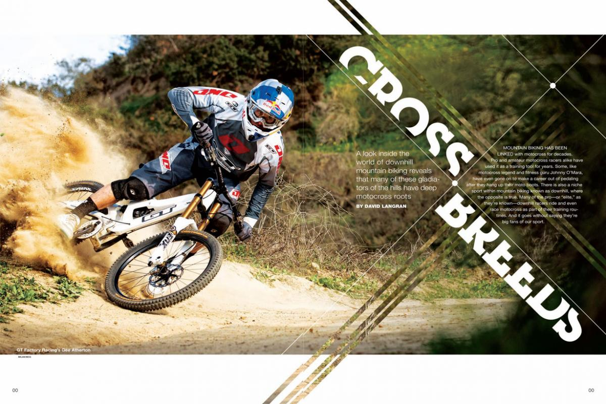 The relatively new sport of downhill mountain biking has deep roots and strong connections with the motocross world. Page 148.