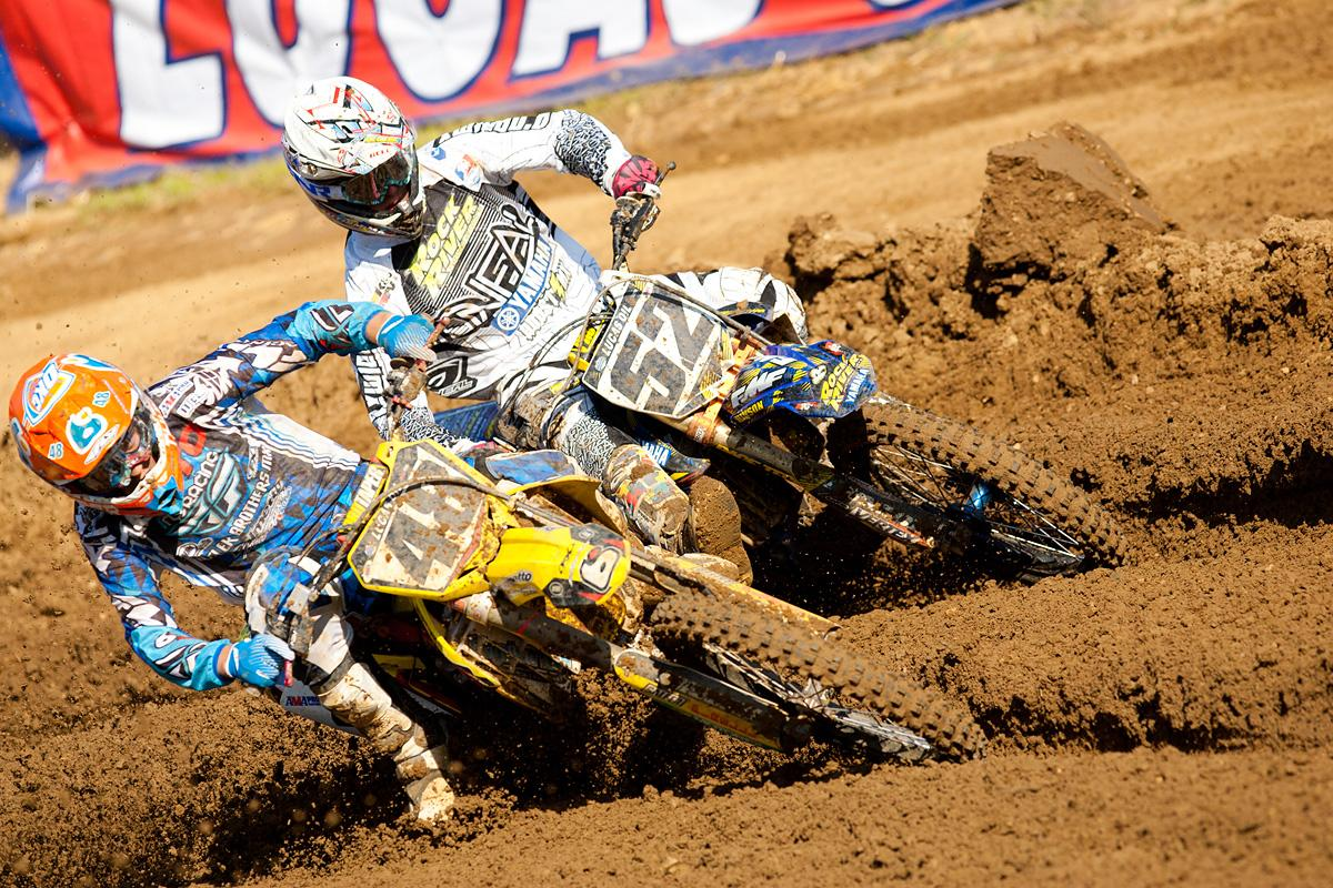 Albertson and Lamay going at it in practice.