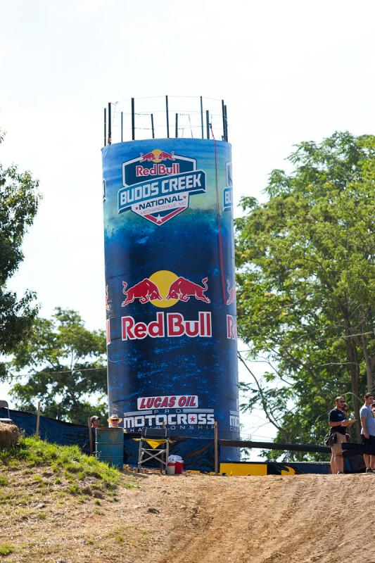 New signage on the Red Bull water tower.