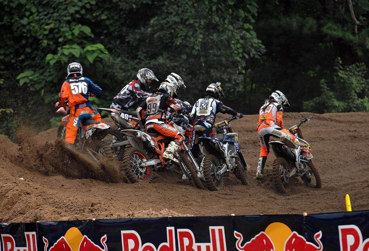 Pileup in the first 250 moto