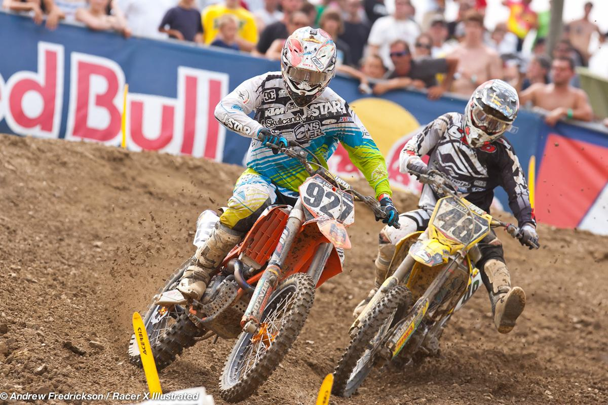 Larsen and Albertson battle for position.