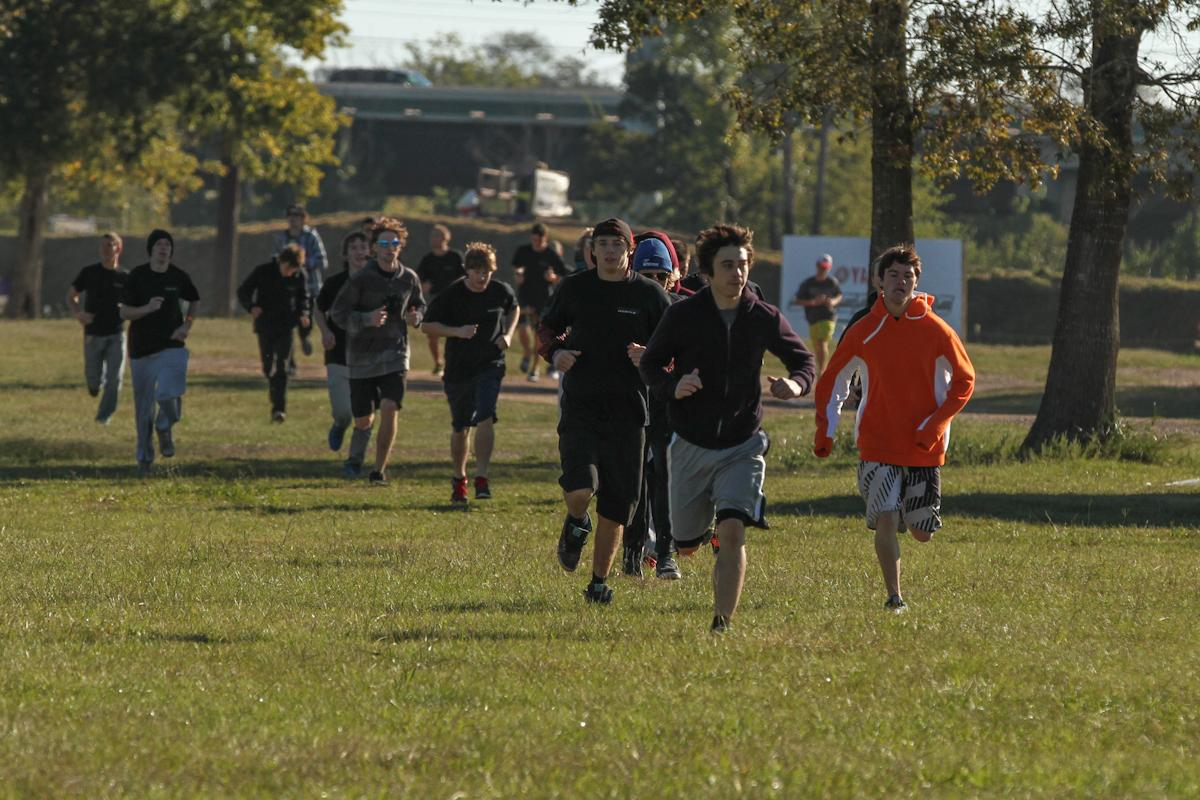 Tryouts started out each day with a warm up jog to the obstacle course