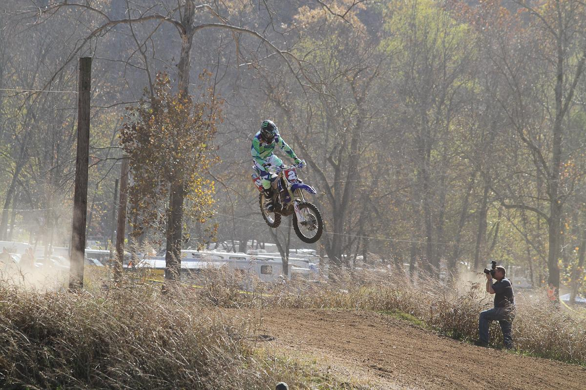 Whibley out front on the famous Loretta's moto track.