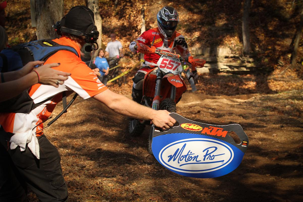 The KTM team pushes for Kailub Russell.