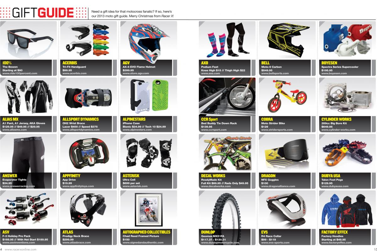 Moto-inspired gift ideas for the racers and fans in your life. Page 154.